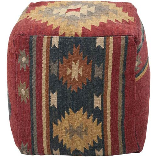 surya wool kilim square pouf ottoman i