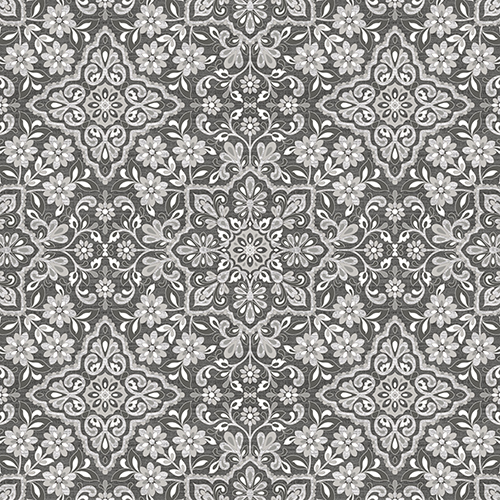norwall wallcoverings black grey and metallic silver floral tile wallpaper fh37543 bellacor