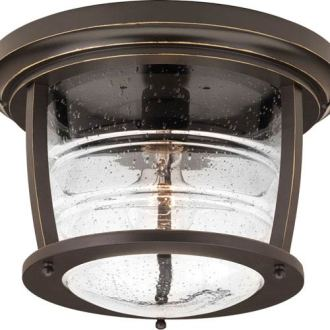Outdoor Ceiling Lighting   Exterior Light Fixtures   Bellacor P5638 108 Signal Bay Oil Rubbed Bronze One Light Outdoor Flush Mount