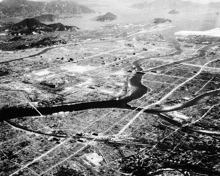 Description of  Sept. 3, 1945: This desolated area, with only some buildings standing here and there is what was left of Hiroshima, Japan after the first atomic bomb was dropped. (AP Photo)