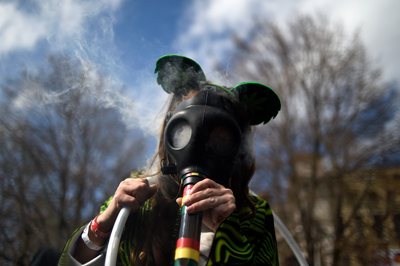 DENVER, CO - APRIL 19: Stephanie Hodge smokes a gas mask marijuana smoking apparatus during Denver's annual 4/20 festival at Civic Center Park on Sunday, April 19, 2015. Thousands of people gathered to watch a free Rick Ross concert, while partaking in the day's goods and services. (Photo by AAron Ontiveroz/The Denver Post)