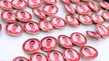 Pin badges showing face of Cristiano Ronaldo