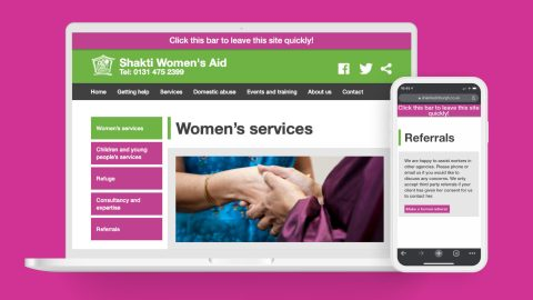 Shakti Womens Aid Website Mockup