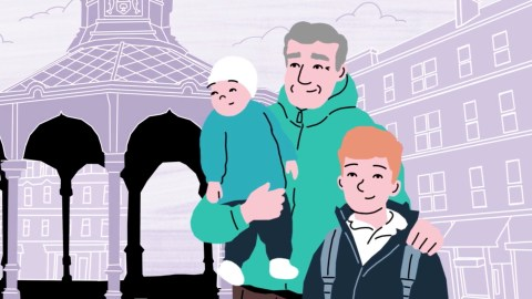 Illustrated family at Bridgeton brandstand