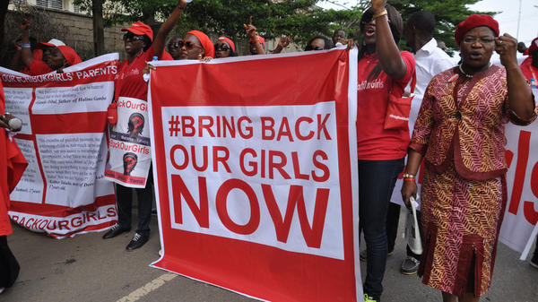 Protestors gather in November to call for the Nigerian government to secure the release of schoolgirls kidnapped by Boko Haram.