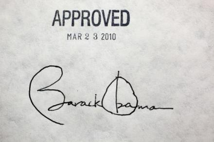 Signature of President Barack Obama, which is from him signing the Affordable Care Act