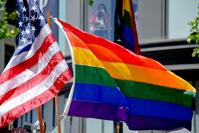 american flag and lgbt flag