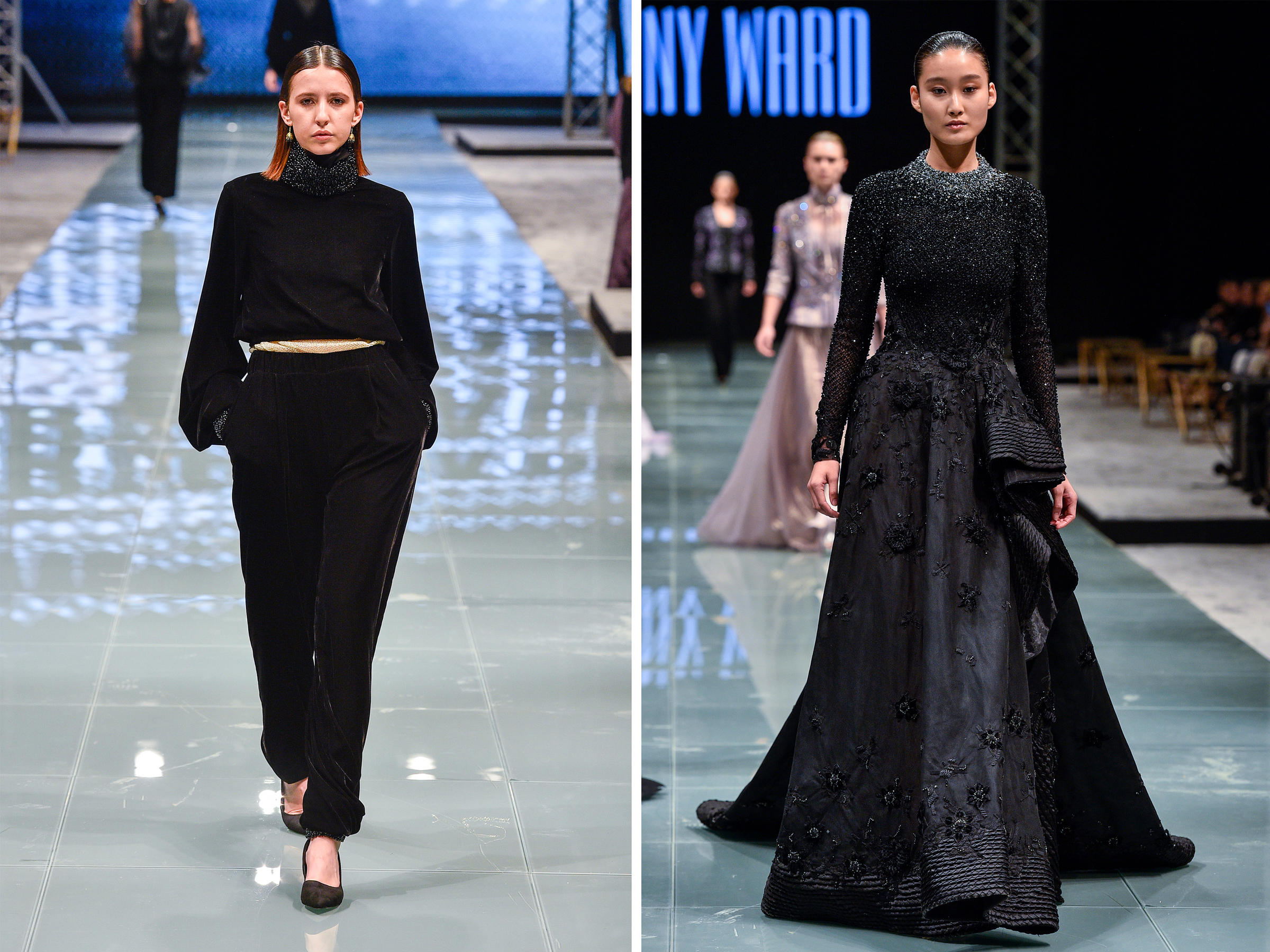 Saudi Arabia s First Arab Fashion Week Kicks Off  Beyond Fashionably     Ultra feminine fashions by Bibisara  left  and Tony Ward