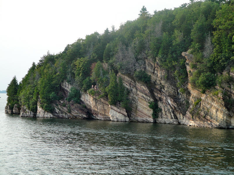 Bluffs on the shore of Lake Champlain show off some of the state's geologic history.