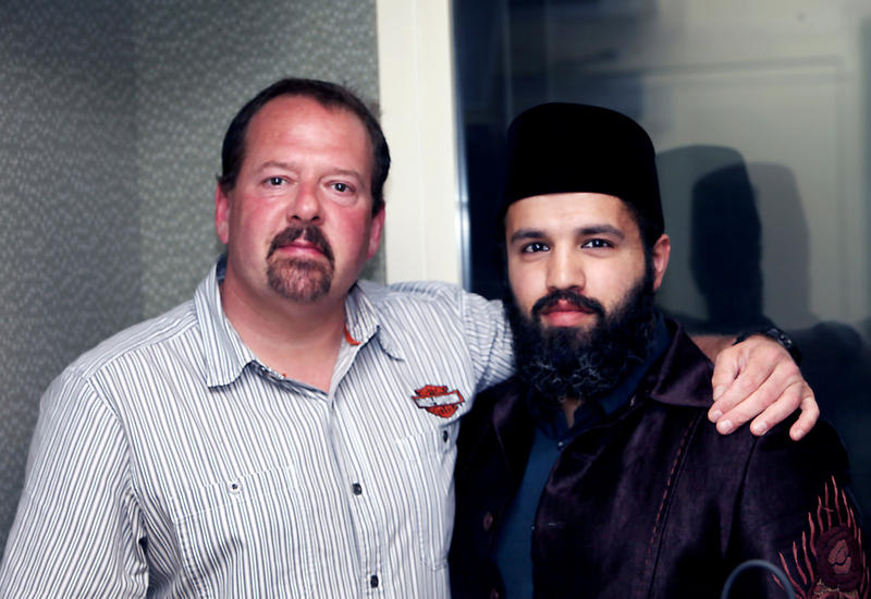 In 2015, Ted Hakey, Jr., left, a former Marine, fired several shots into the Ahmadiyya Baitul Aman Mosque. Since then, he's become