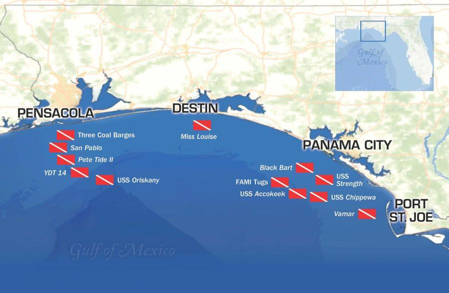 State Promotes Florida Panhandle Shipwreck Trail   WUWF Florida Panhandle Shipwreck Trail Map