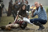 Jaimie Alexander as Sif and director Alan Taylor on the set of 'Thor: The Dark World'