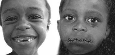 Black girl lips sewn