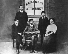 Mahatma Gandhi at his law office in Johannesburg, South Africa, 1905