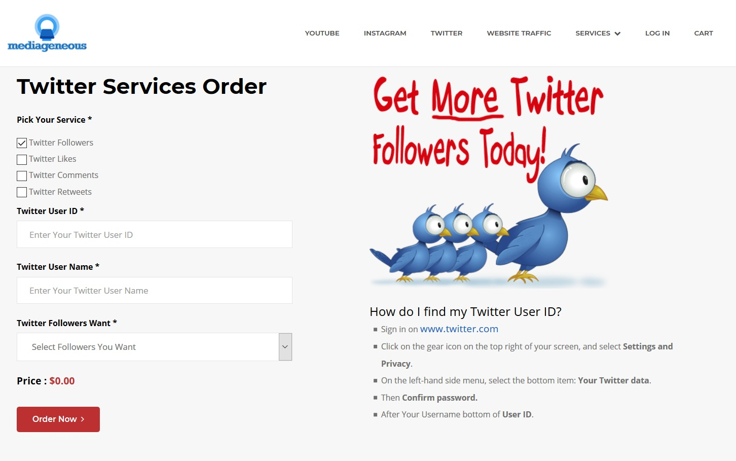 buy twitter followers from mediageneous. mediageneous is the world's leading site to purchase twitter followers