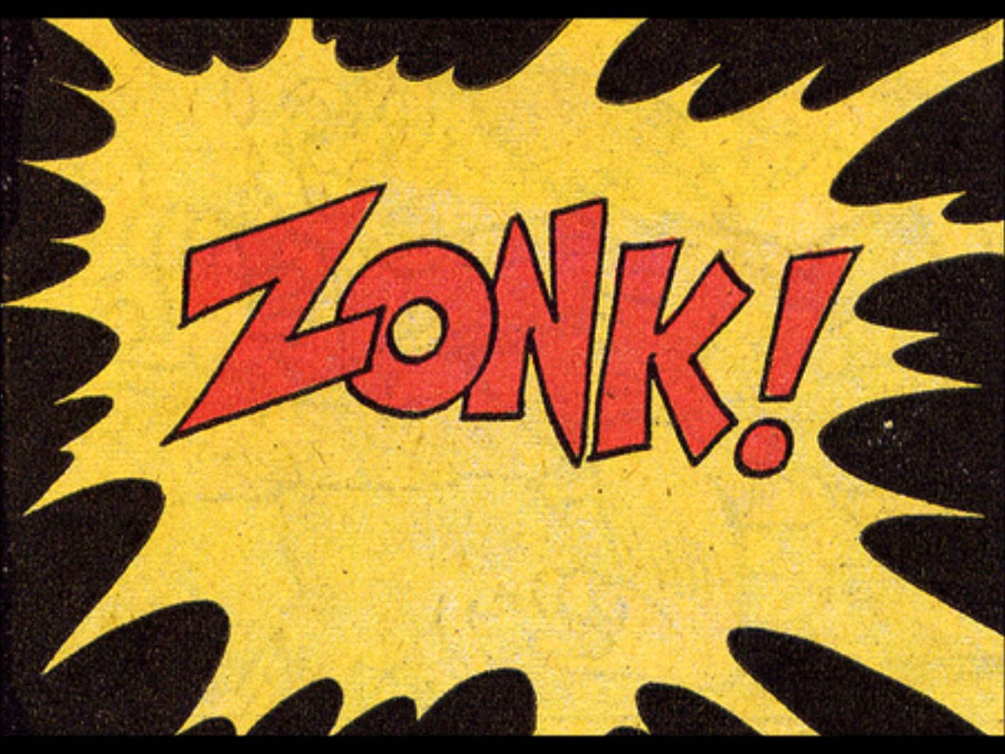 Zonk! in a comic book bubble