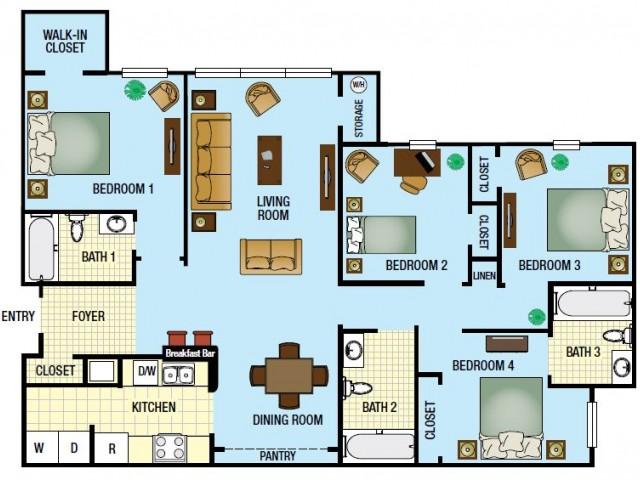 4 Bed / 3 Bath Apartment In Kissimmee FL