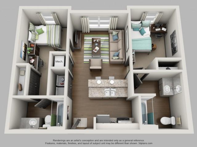 2 Bedroom Bath Floor Plan