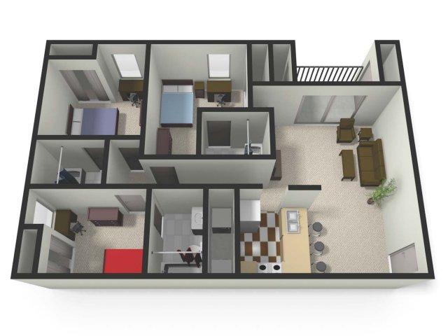 3 bed / 3 bath apartment in mt. pleasant mi | the village at bluegrass