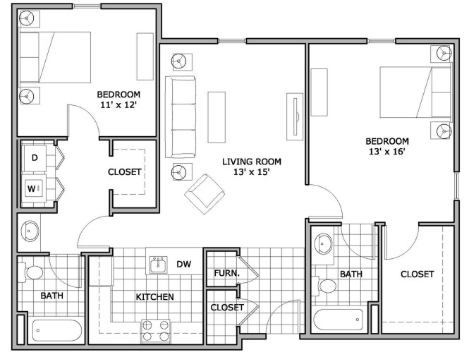 0 For The 2 Bedroom Phase 3 Floor Plan
