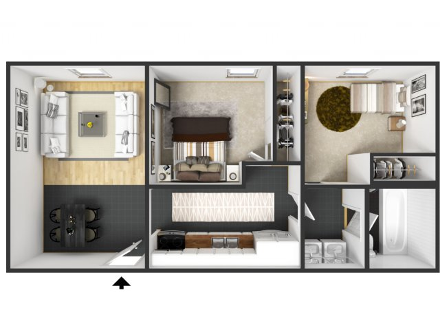 0 For The 2 Bedroom Furnished At Carriage House Floor Plan