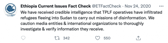 Figure 8: The SOEFactCheck account's initial tweet seeding the narrative about refugees and journalists' sources being infiltrated by the TPLF. Source: https://twitter.com/SOEFactCheck/status/1331261456617234432