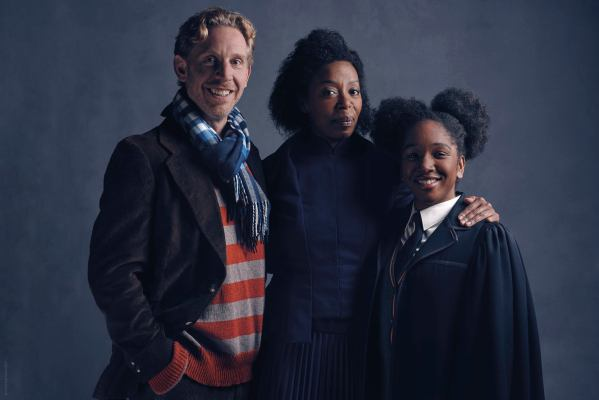 Ron (Paul Thornley), Hermione (Noma Dumezweni) and Rose Granger-Weasley (Cherrelle Skeete) from the new play Harry Potter And The Cursed Child.