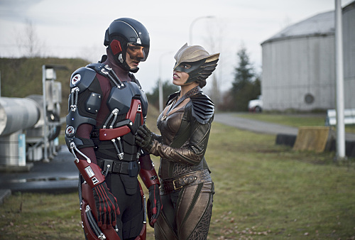 Pictured (L-R): Brandon Routh as Ray Palmer/Atom and Ciara Renee as Kendra Saunders/Hawkgirl