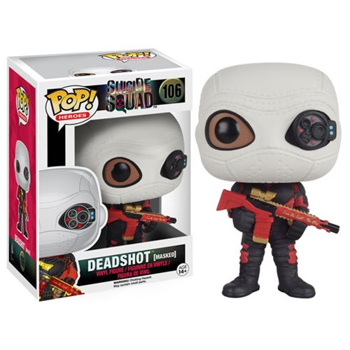 Deadshot is suited and armed in his iconic red and black outfit and silver face mask.