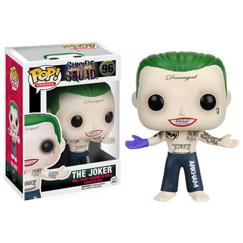 Joker is featured in his Arkham pants, purple gloved hand, and tattooed chest.