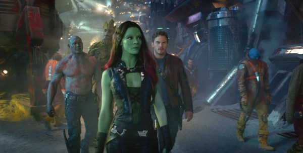 Marvel's Guardians Of The Galaxy..L to R: Drax (Dave Bautista), Groot (Voiced by Vin Diesel), Gamora (Zoe Saldana), and Star-Lord/Peter Quill (Chris Pratt)..Ph: Film Frame..?Marvel 2014