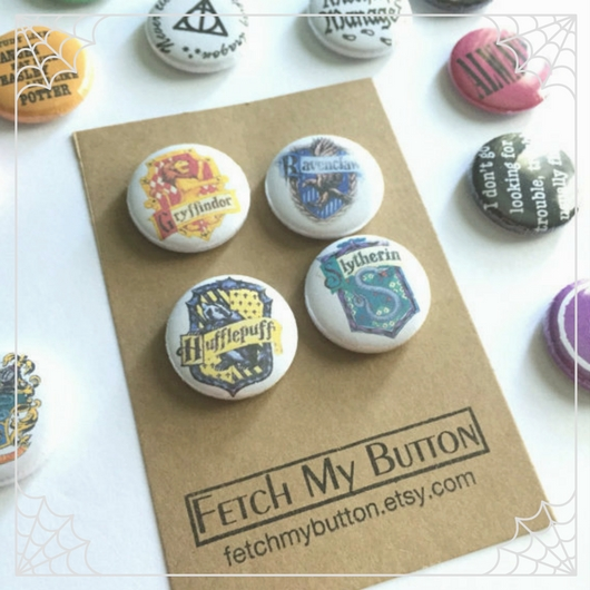 Hogwarts House Crest Buttons