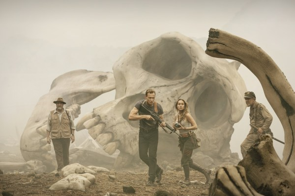 "(L-r) JOHN GOODMAN as Randa, TOM HIDDLESTON as Conrad, BRIE LARSON as Mason and JOHN C. REILLY as Marlow in Warner Bros. Pictures' and Legendary Pictures' action adventure ""KONG: SKULL ISLAND,"" a Warner Bros. Pictures release."