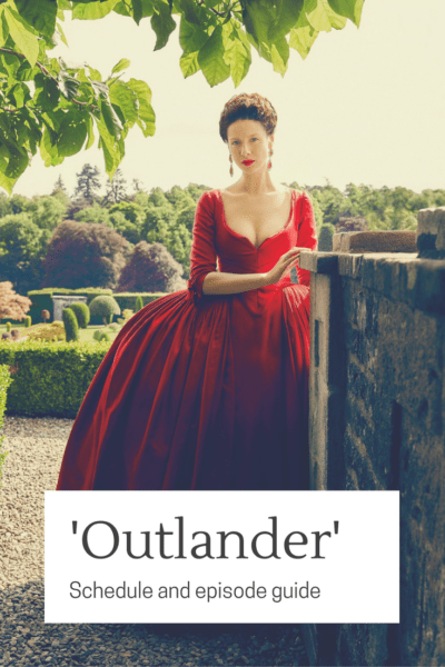 Outlander photo of Claire Fraser in red dress.