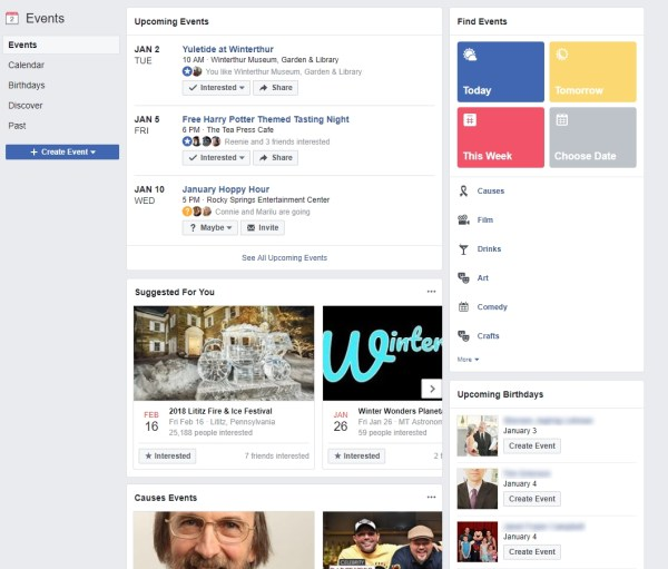 Main Facebook Events Home Page on PC