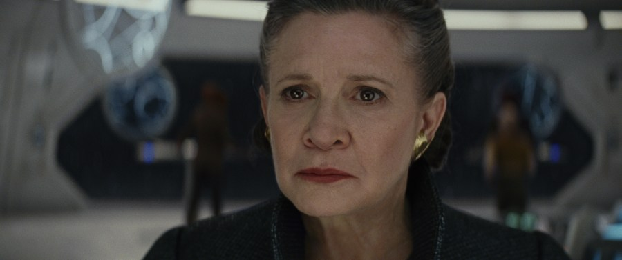General Leia looks out at the battle in Star Wars: The Last Jedi