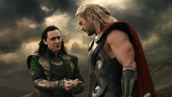 "This publicity photo released by Walt Disney Studios and Marvel shows Tom Hiddleston, left, and Chris Hemsworth in a scene from ""Thor: The Dark World."" (AP Photo/Walt Disney Studios/Marvel) ORG XMIT: NYET729"