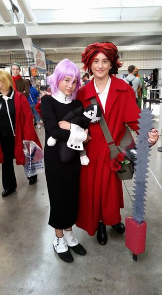 Q as Crona from 'Soul Eater' and cosplayer as Grell from Black Butler. CR: Amy Peters