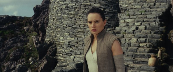 Rey on the island in Star Wars: The Last Jedi