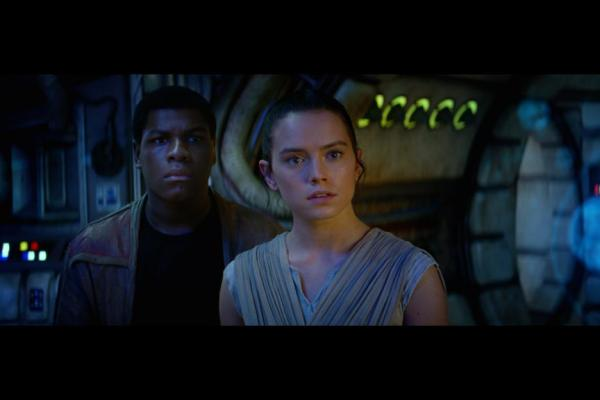 John Boyega as Finn and Daisy Ridley as Rey in 'Star Wars: The Force Awakens'
