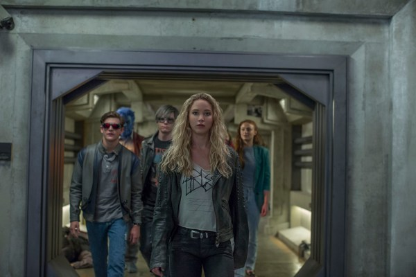 Left to right: Cyclops (Tye Sheridan), Beast (Nicholas Hoult), Quicksilver (Evan Peters), Raven (Jennifer Lawrence), and Jean Grey (Sophie Turner).