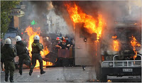 protesters riot again in athens
