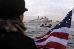 navy vessel built with 9/11 steel sails up ny's hudson river