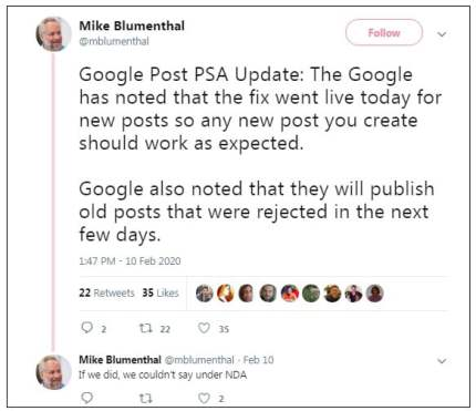 Google Posts Rejection Resolved
