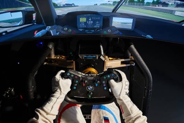Munich (GER), 5th December 2020. BMW SIM Live, event, show, BMW Welt, BMW M4 GT3, steering wheel, simulator.
