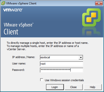 VMWare vSphere Client - Connection Window