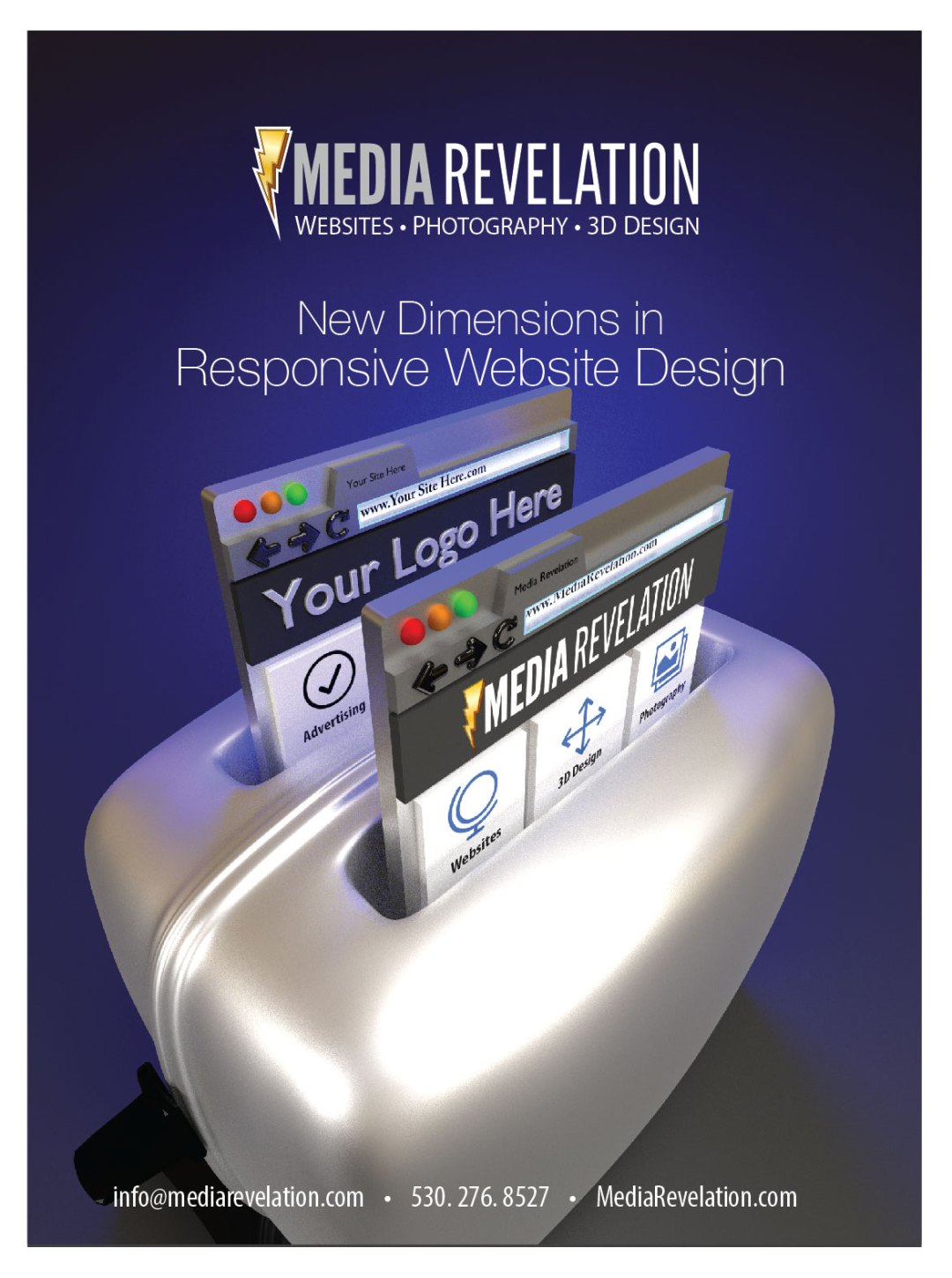 Media Revelation - Print Ad Design - Responsive website design