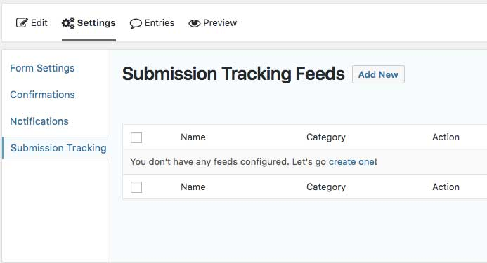 Gravity Forms Add Event Tracking Feed