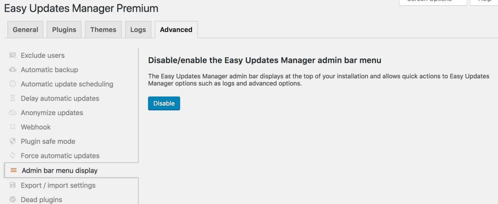EUM Admin Bar Removal
