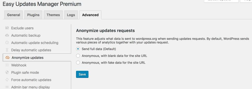 EUM - Anonymize Updates